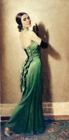 F.S. Coburn, sans titre (Carlotta, green dress, Tango), 1936, huile sur toile, 190 x 92 cm