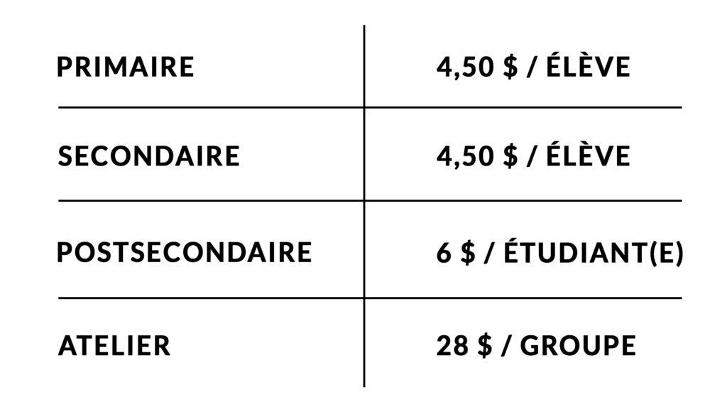 Liste de prix pour la réservation